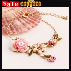 China Enamel Chian Golden Bracelets Pearl Crystal Diamond Rhinestone Bangle Bracelets Jewelry on sale