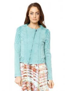 China Round Neck Long Sleeve Ladies Denim Coat , Zip Front Womens Blazer Jacket on sale