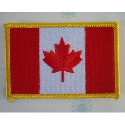 China Canada embroidery patch,pvc backing patch,merrow border flag patch on sale