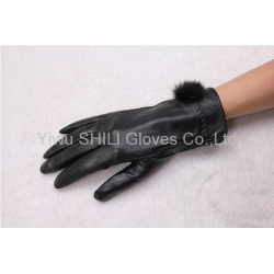 China Ladies rabbit fur leather sheepskin leather gloves on sale