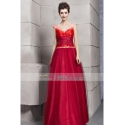 China Coniefox 2013 Graceful Red Lace V-Neck Long Prom Dresses 30160 on sale