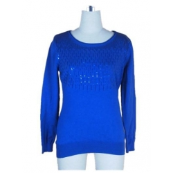China Lady Blue Crew Neck Sweater with Sequins on sale