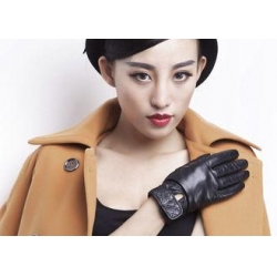China Classic Women Ladies Winter Leather Gloves With Embroidery Belt Cuff Elastic Wrist on sale