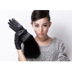China Winter Warm Women Black Leather Gloves For Touch Screen Phones Microsofe Pile Lining on sale