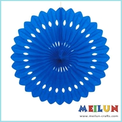 China PAPER CRAFT Blue background wall decoration hanging round tissue paper fan on sale