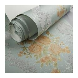 China Arabesque velvet flock wallpaper,faux leather wall covering on sale