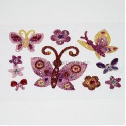 China Glitter butterfly flat back acrylic self adhesive rhinestone manufacturer on sale