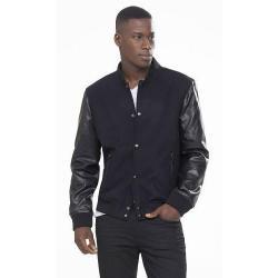 China Leather Jacket Men's Real Lamb Leather Varsity Baseball Jacket on sale