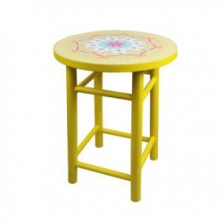 China Wood yellow flower stools SH15-151002044 on sale