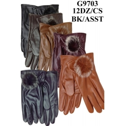 China Lady Faux Leather Gloves Fur Ball G9703 on sale