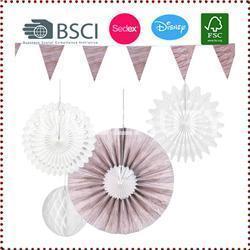 China Wood Grain Hanging Paper Fan Decoration Set on sale