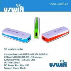 China WCDMA/ EVDO 3G Wireless Router supports PowerBank US-W8 on sale