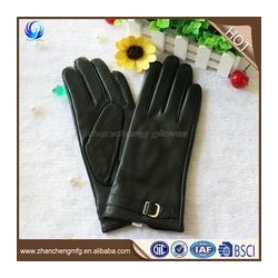 China High quality cheap winter women sheep leather gloves with leather belt on sale