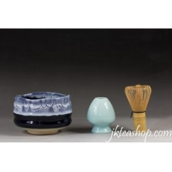 China Sea Wave Glaze Matcha Bowl & Matcha Whisk Chasen & Chasen Holder Set on sale