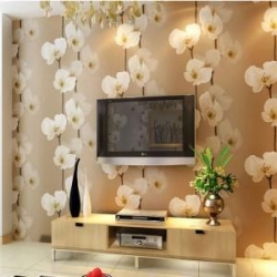 China 3d PVC Wallpapers Flower for Background Bedroom on sale