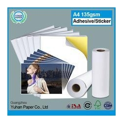 China Top selling cast coated bulk self adhesive photo paper wholesale plain glossy sticker photo paper on sale