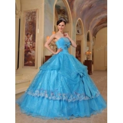 China Azure Strapless Sequins Quinceanera Party Dress With Bowknot Decorate on sale