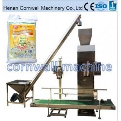 China Electronic dosing flour packing machine with SUS conveyor on sale