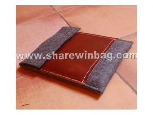 China Ipad mini sleeve wool felt with flap and leather pocket supplier