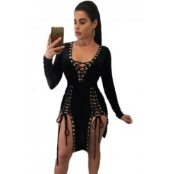 China New Arrivals Black Lace Up Grommet Double Slits Long Sleeve Club Dress on sale