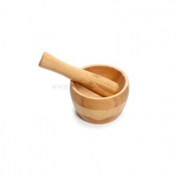 China New Mini Wooden Mortar and Pestle Grinding Bowl Set Kitchen Tools on sale