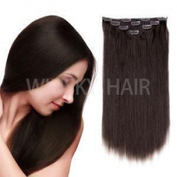 "China 18""Clip in Hair Extensions Brazilian Human Hair for Women 50g 4Pcs Dark Brown #2 Color on sale"