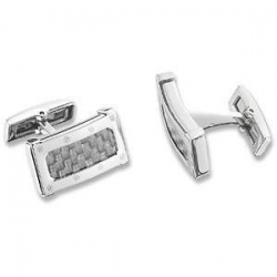 China Stainless Steel with Gray Carbon Fiber Cufflinks on sale