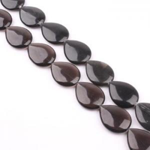 China GW-B0006-41 Smoky quartz Teardrop Gemstone beads 40 X 30mm on sale