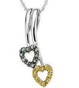 China heart jewelry( Yellow & Blue Diamond heart Pendant -EVIP0034) on sale