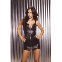 Zip Front Leather Mini Dress L38020