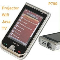 China P790 Dual Sim Card Dual Standby Cell Phone Projector WIFI Java TV Mobile Phone on sale