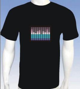 China EL product EL T-shirts, EL flashing T-shirtsEL sound activated T-shirt on sale