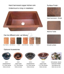 China Copper Sinks  Single bowl copper kitchen sinks CSD-006 on sale