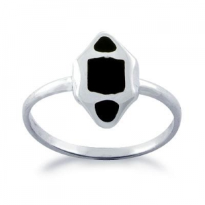 China 925 sterling Silver Black Onyx Women Fancy Ring on sale