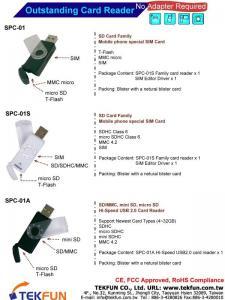 China SPC-01 (micro SD/T-Flash+SIM), SPC-01S (SD/MMC+micro SD/T-Flash +SIM), SPC-01A (SD/MMC+mini SD+micro SD/T-Flash) Card Reader & Writer on sale