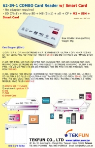 China SPC-11: 62in1 Combo Card Reader w/ SD (7in1) + Micro SD + MS (3in1) + xD + CF + M2 + SIM + Smart Card on sale