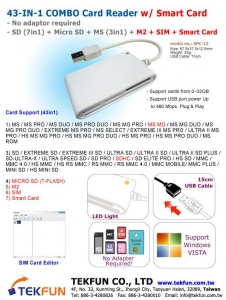 China SPC-12: 43in1 Combo Card Reader w/ SD (7in1) + Micro SD + MS (3in1) + M2 + SIM + Smart Card on sale