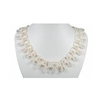 Wn063 Hand knotted freshwater rice pearl necklace for bridesmaid[costume pearl jewelry]