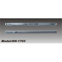 China 17mm drawer slide Model:HH-1703Explanation:17mm mini slideMaterial: Work hardened cold rolled steelLoad capacity: 10kgsFinish: Zinc platedThickness: 0.8mm/0.8mm; 0.9mm/0.9mm ; 1.0mm/1.0mmSize: 150mm-600mm on sale