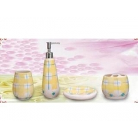 Bathroom Accessory Set Ceramic Tartan Bathroom Accessory Set