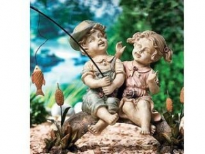 China Polyresin Statues Resin Fishing Boy And Girl Statue on sale