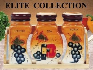 China Ceramic Canister Set Ceramic 3-pc Canisters Set with Wooden Tray on sale
