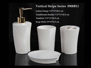 China Vertical Stripe Ceramic Bathroom Accessory on sale