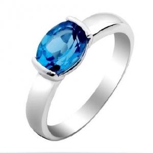China Blue Topaz gemstone with sterling silver ring on sale