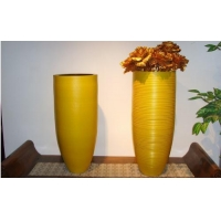Embossed stripe porcelain vase-yellow