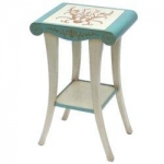 Side Table with Hand-Painted Seashell Design