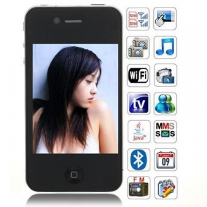 China Iphone 4 Changjiang P4 3.5 inch dual sim card TV JAVA 2.0 mobile phone on sale