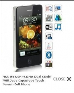 China IPhone 4G A8 SHARP 3.6 inch touch screen WIFI GSM+CDMA or 2GSM dual sim mobile on sale