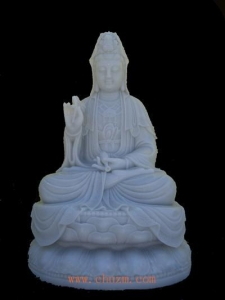China White Marble Sculpture The Mercy Buddha on sale