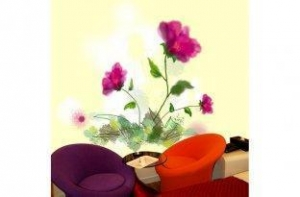 China Wall Decoration Stickers Non-Woven Fabric 5JJ01-001S Flower ... on sale